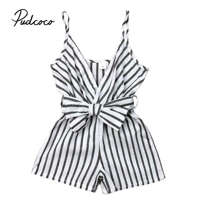 2019 Boho Style Infant Toddler Kids Baby Girls Striped Sleeveless   Romper   Suspender Jumpsuit Outfits Fashion Summer Cute Playsuit