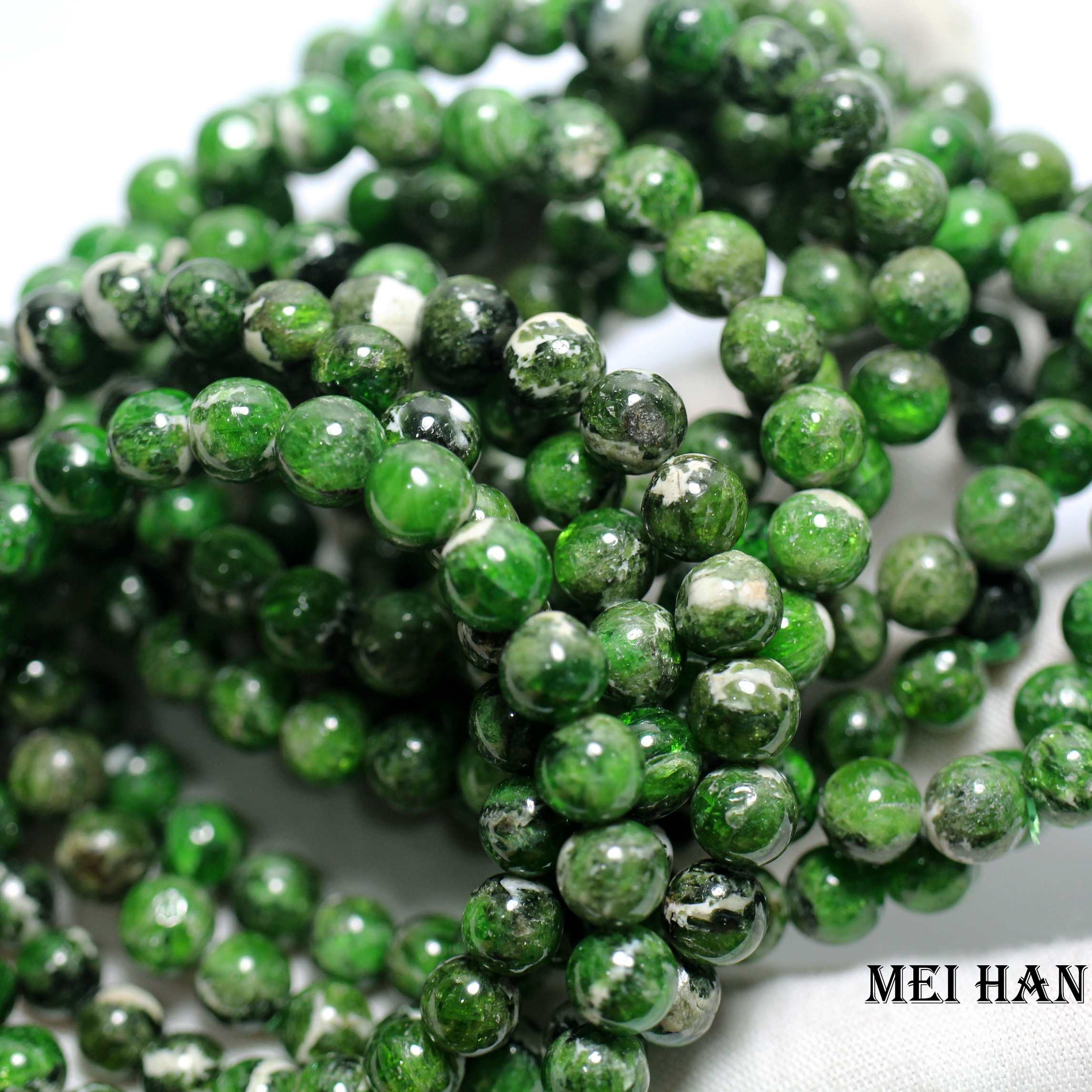 4MM PREHNITE GEMSTONE BROWN GREEN FACETED ROUND 4MM LOOSE BEADS 7.5/""