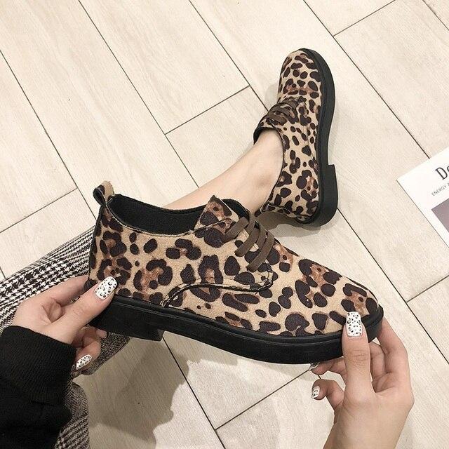 Женская обувь на плоской подошве, весна-осень 2019, модные Лоферы для женщин, леопардовая женская обувь, женская повседневная обувь с круглым носком