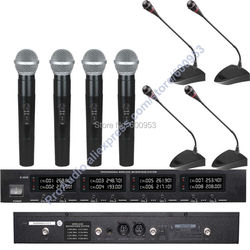 First-Class Digital Wireless Meeting Conference Audio Microphone Mic System - with 4 Desktop Gooseneck 4 Handheld Mic