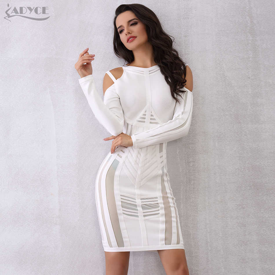 Adyce женское Бандажное платье 2018 шикарное вечернее платье знаменитостей летнее Сетчатое роскошное черное белое Клубное платье с длинными рукавами Vestidos