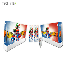 Mario For Nintend Wii Console Vinyl Skin Sticker Cover with 2pcs Controller Decal For Wii Controle Gamepad Joypad Acessories