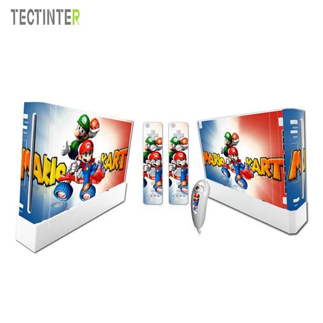 Mario dla Nintend konsola Wii Vinyl nalepka skórki pokrywy z 2 sztuk kontroler naklejka dla Wii Controle Gamepad Joypad Acessories