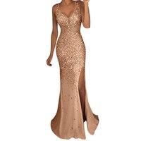 Sexy Women Sequin Pure Color Gold Split Long Dress Fashion Bridesmaid Sleeveless V Neck Split Dresses Elegant Ladies Long Dress