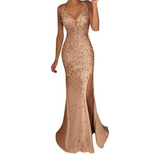 Women Party Prom Gown Sequin Dress V Neck Sexy Gold Bling Glitter  Bridesmaid Long Dress Side 37c2da1421ac