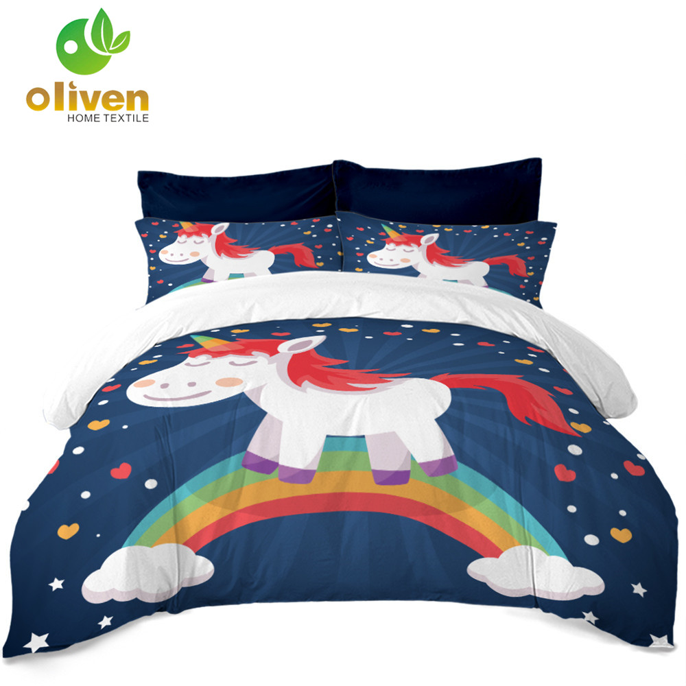 Unicorn Bedding Set Kids Girls Cartoon Duvet Cover Set Colorful Rainbow Bedclothes Pillowcase 3Pcs Bed Cover Home Textile A35