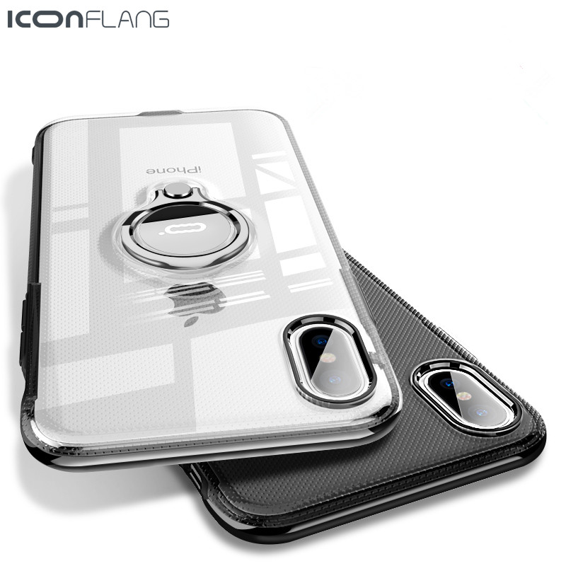 Phone Ring Case For iPhone X Kickstand Capinhas Ultra Thin Finger Ring Holder Case For iPhone X 10 Transparent Back Cover Coque