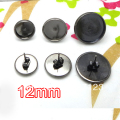 gunmetal black 100pcs earring cabochon cameo setting 12mm earring bezel blank post with butterfly backings studs diy findings