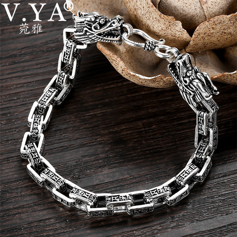 V YA 7MM Double Dragon Bracelet 925 Sterling Silver Men Bracelets Bangles with Om mani padme