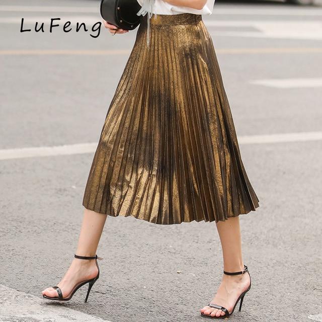 0ebce7ebf64 Pleated Skirt Women European Fashion Suede Gold Silver Office High Waist  Long Skirts Korean Ladies Jupe Femme Beach LF193-621