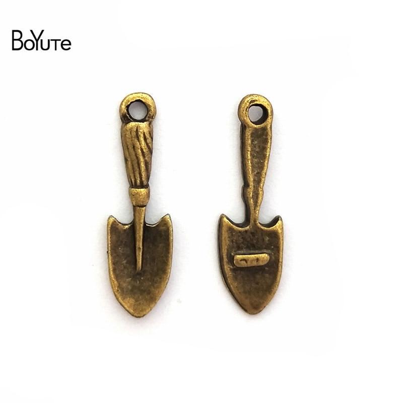 BoYuTe (100 Peças/lote) Pá de 23*7 MM Encantos Por Atacado Do Vintage Bronze Antigo Chapeado Liga de Zinco Diy Metal Fazer jóias