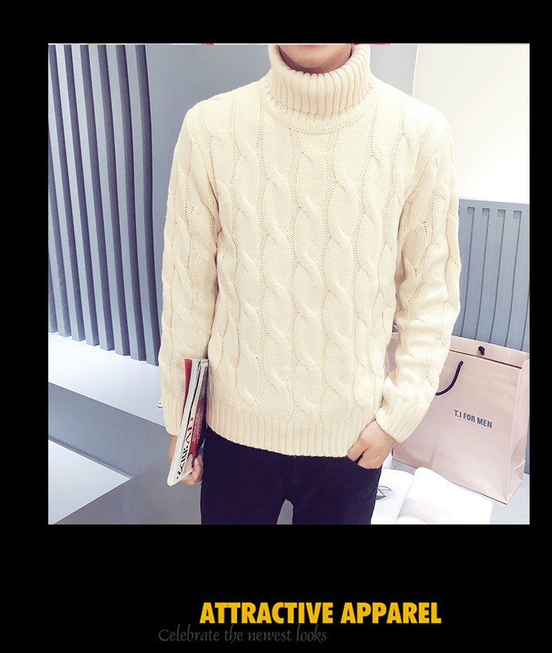 Ikeacasa, autumn winter new turtleneck sweater male sweater men's slim underwear shirt fashion and leisure high quality sweaters