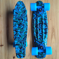 Blue Camouflage Graphic Printed Mini Cruiser Plastic Skateboard 22 X 6 Retro Longboard Skate Long Board