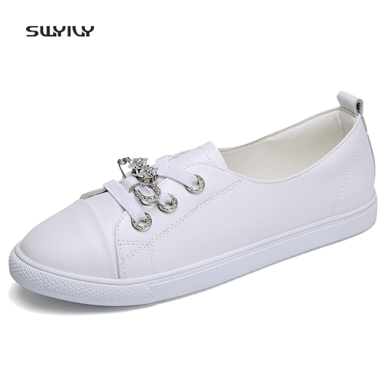SWYIVY Women s Shoes White Genuine Leather Spring 2018 Female Casual Canvas  Shoes Soft Bottom Comfortable Woman Sneakers Bling US 37   pair  lot 1 82502dd6b4a3
