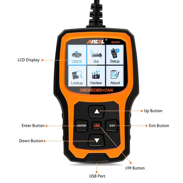 Ancel AD410 OBD2 Scanner Automotive Car Diagnostic Tool ODB2 Code Reader Erase Error Codes Multi Languages Engine OBD 2 Scanner