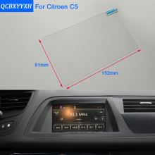 Car Styling 7 Inch GPS Navigation Screen Steel Glass Protective Film For Citroen C5 Control of LCD Screen Car Sticker