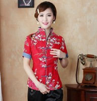 Hot New Fashion Red Chinese Female Blouse Women Traditional Cotton Linen Flowers Shirt Summer Casual Shirts