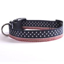 American Flag Print Dog Nylon Collar Adjustable Pet Collar for Medium and Large Dogs adjustable anti bite nylon pet collar for mid large sized dog black