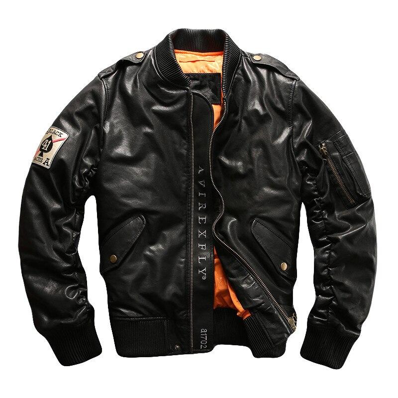 HARLEY ciruela Negro hombres piloto chaqueta de cuero más tamaño 5XL invierno grueso Real oveja Rusia Aviator abrigo de cuero
