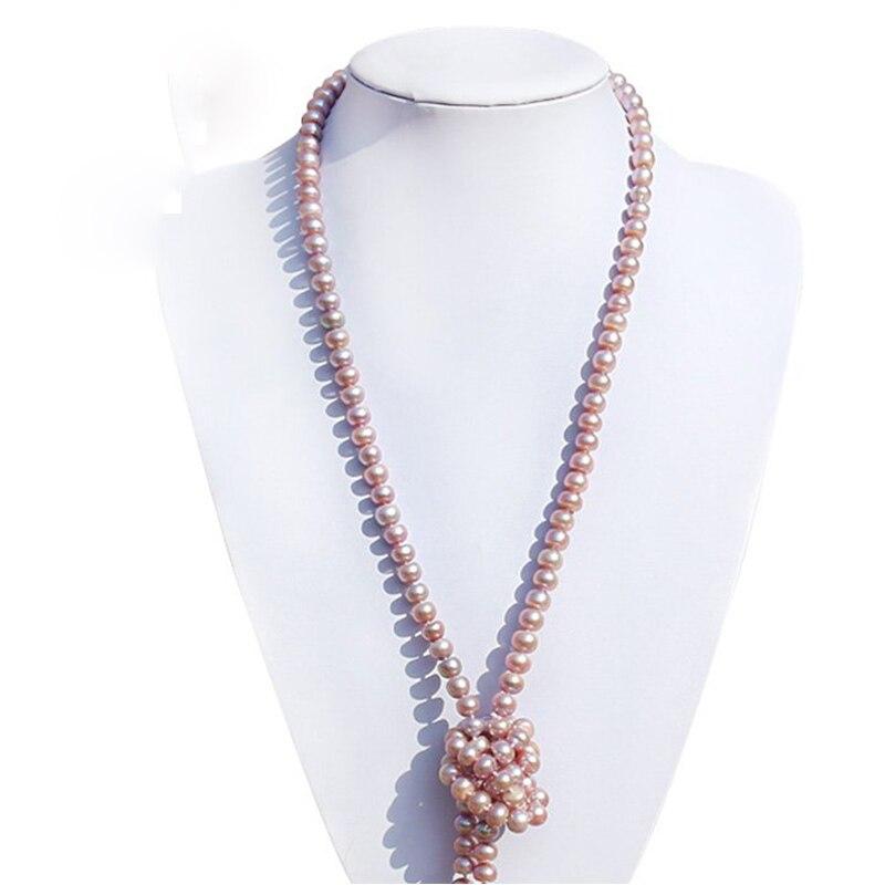 RUNZHUQIYUAN 2017 100% collier long de perles d'eau douce naturelles couleur pourpre 7-8-9-10mm perle bijoux de mariage pour les femmes meilleur cadeau