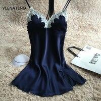 Ladies Sexy Silk Satin Nightgown Lace Nightdress Sleeveless Nighties Summer Night Dress Charming Sleep Wear Night