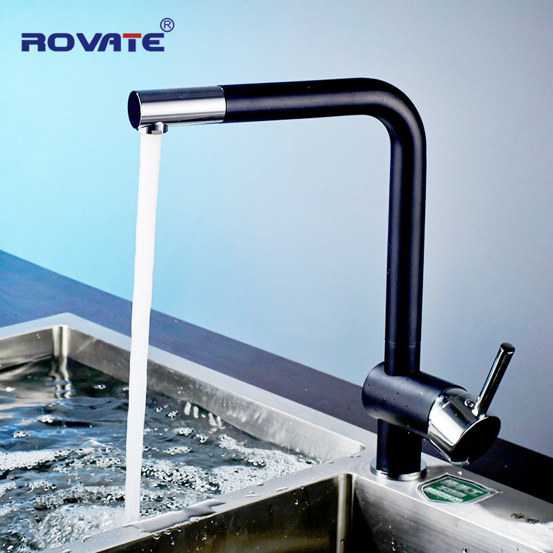 ROVATE Kitchen Faucet Torneira Black Spray Paint Brass Cold and Hot Mixer Deck Mounted Rotatable Kitchen Sink Tap hpb brass morden kitchen faucet mixer tap bathroom sink faucet deck mounted hot and cold faucet torneira de cozinha hp4008