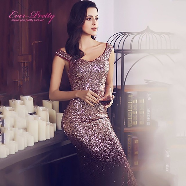 Ever Pretty Long Sparkle Prom Dresses V Neck Women Maxi Sequin ...