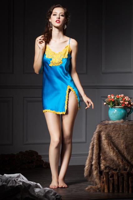 2016 YIGELILA New design qualidade top mulheres camisola de seda sexy sono vestido com laço azul bordado wellmade exclusivo personalizado
