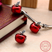 AZIZ BEKKAOUI Sterling Silver Jewelry Red Enamel Apple Beads Fit Pandora Charm Bracelets Authentic 925 Sterling