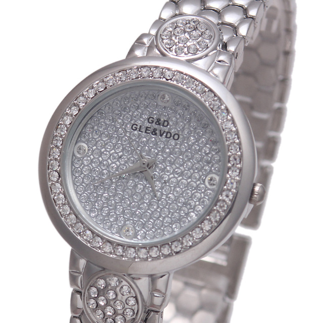 2017 Luxury Brand New G&D Women Quartz Wristwatch Stainless Steel Silver Women'