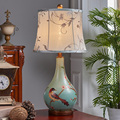 New American style retro luxury living room bedroom bedlamp resin fabric study modern hand-painted lamp