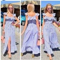 2 Color Long dress women striped off shoulder sexy Pajamas style maxi vintage fashion new dresses vestidos dress woman