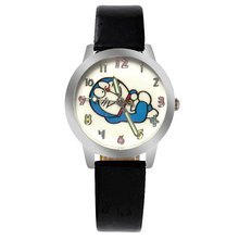 ot03 Lovely  Cartoon Doraemon Watch Doraemon Leather With Children Watch Baby Boys And Girls Children Watch