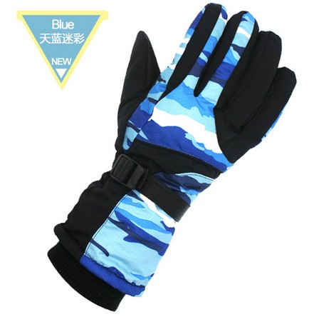 Men sky blue camouflage ski gloves male five finger riding mountaineering skiing gloves winter sports gloves snowboarding gloves
