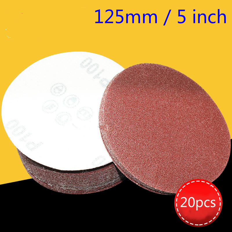 High Quality 20pcs125mm5 Inch Round Sand Paper Tray Sand Paper Sand 60-1000 Hook Ring Sand Grinder Pan