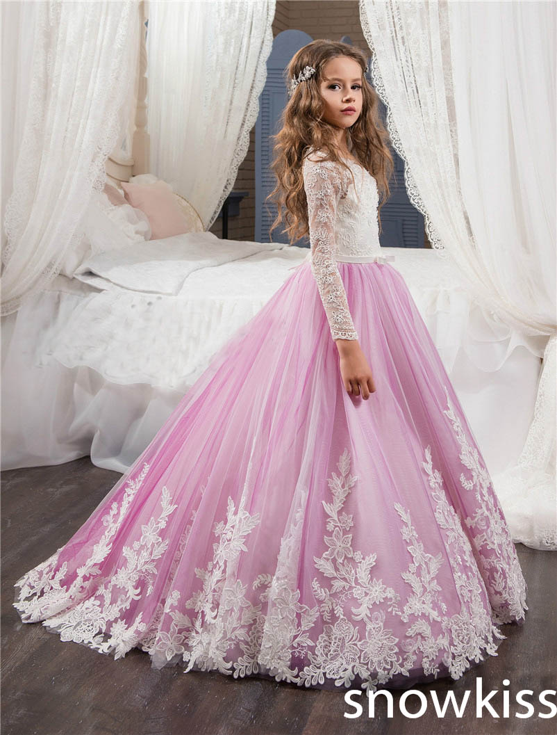 New light purple flower girls dresses for wedding crew neck with lace appliques long sleeve junior pageant kid evening gowns crew neck long sleeve 3d flower print sweatshirt