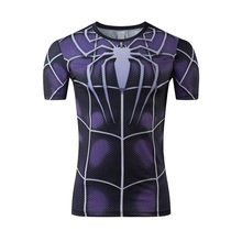2016 super hero spider-man quick dry compressed lycra tights news cultivate one's morality short sleeve T-shirt free shipping