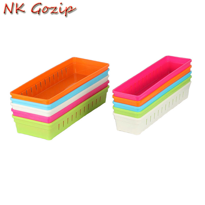 1PCS Hot Sale Adjustable 5 Color Plastic Cutlery Stationery Organizer Drawer Cosmetic Divider Plastic Storage Boxes 2 Sizes
