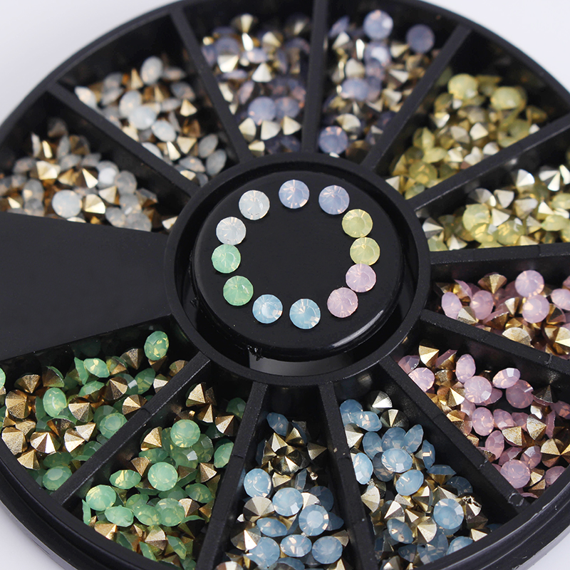 1 Box Colorful Sharp Bottom Rhinestone 3D Nail Decoration 2.5mm Opal Manicure Nail Art Decoration