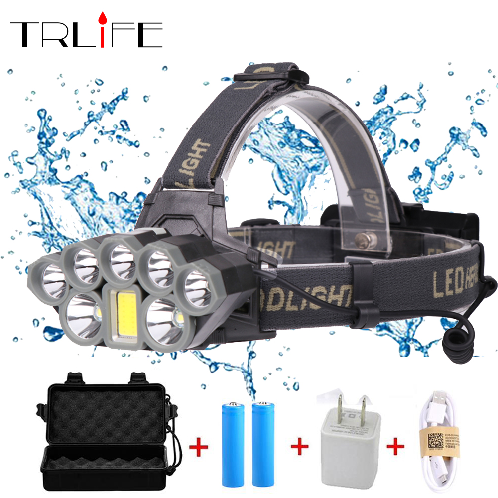 40000 Lumens LED Headlamps COB 2*T6+5*XPE LED Headlight 6 Modes USB Rechargeable Head Lamp Torch By 2*18650 batteries usb rechargeable headlight cob led headlamp 3 modes head torch flashlight for camping use 2 18650 batteries