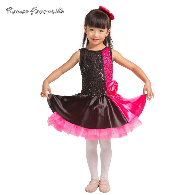 Dance Favourite rose red/black sequin spanex top bodice ballet tutu girl stage performance ballet costume ballerina dance tutu