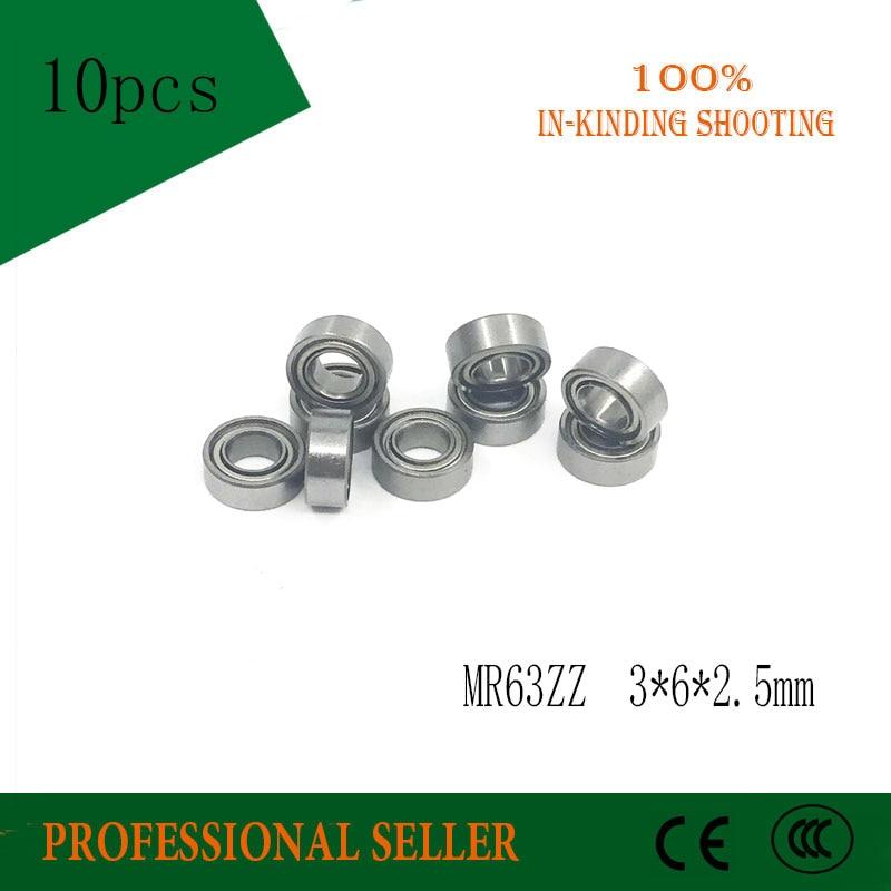 Free Shipping 10 PCS MR63ZZ  ABEC-5 Bearings 3x6x2.5 Mm Miniature Ball Bearings L-630ZZ   Mr632z MR63