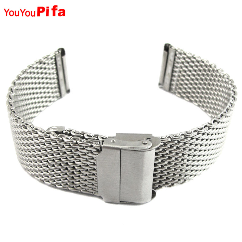 Hot Sale 18mm 20mm 22mm 24mm Stainless Steel Men Watchband Shark Mesh Milanese Watch Band Replacement Fashion Wrist Watch Strap