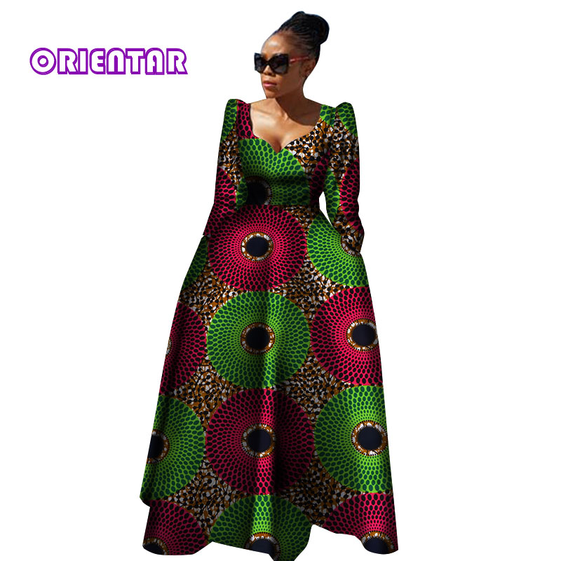 Women African Clothing Bazin Riche Robe Africaine African Dress New Arrival 2018 Women Plus Size Pure Cotton Long Dress WY2849
