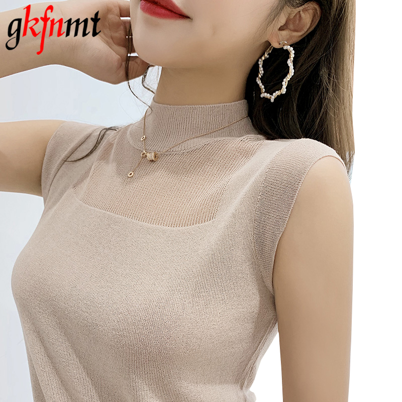 gkfnmt Sexy Women Knitted Vest   Top   Sleeveless Casual Hollow Out   Tank     Tops   Woman Summer   Tops   Elasticity Solid Slim Pullover