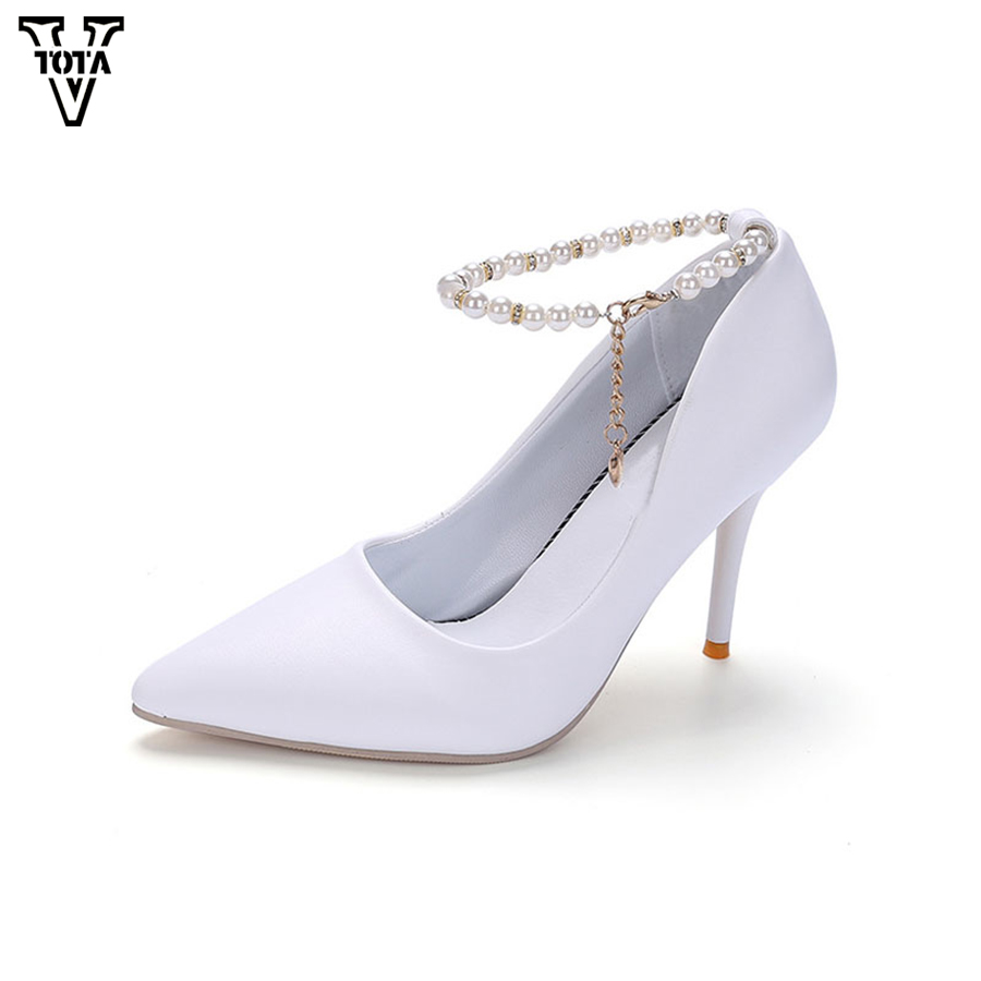 VTOTA 2017 High Heels Women Pumps String Bead Shoes Woman Foot Ring Strap Sexy Women's Shoes Leather Pointed Toe Zapatos Mujer vtota 2017 autumn shoes woman women s high heels sexy women pumps bride party thin heel pointed toe comfortable zapatos mujer