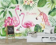 Beibehang Custom 3d wallpaper Hand Painted green plant flamingo banana leaf unicorn background wall for kids room