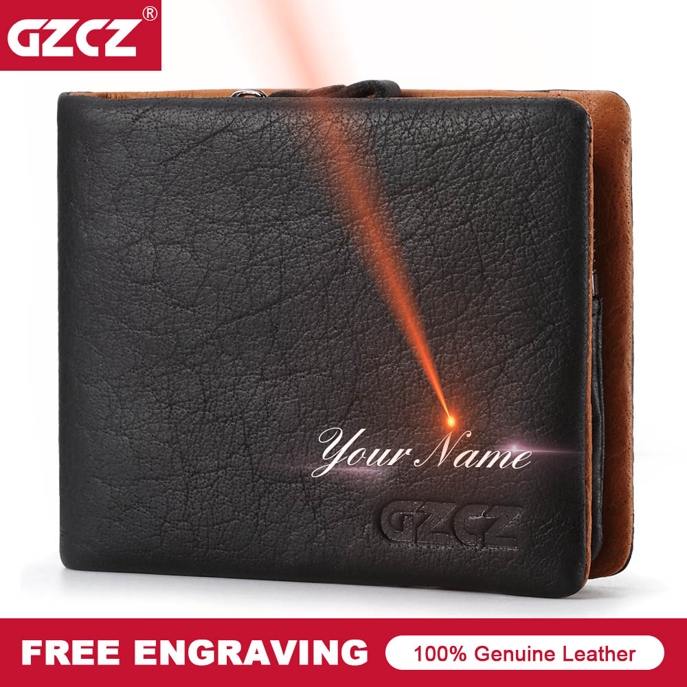 GZCZ Vintage Genuine Leather Men Wallet Clamp For Money Card Holder Male Purse Bifold Slim Wallets PORTFOLIO MAN Free Engraving