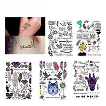 11 Style Geometric Temporary Tattoo Sticker Arabic Letters Fake Tattoos Feather Rainbow Black Tatuagem Arm Leg Art Men Women