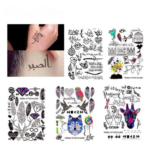 11 Style Geometrique Tatouage Temporaire Autocollant Arabe Lettres Faux Tatouages Plume Arc En Noir Tatuagem Bras Jambe Art Hommes Femmes Dans